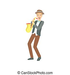 Saxophonist, Creative Person Illustration. Flat Simplified...