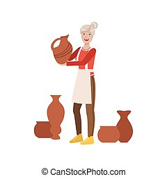 Potter, Creative Person Illustration. Flat Simplified...