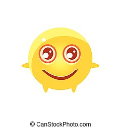 Content Round Character Emoji. Cute Emoticon In Cartoon...