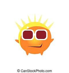Cool Smirk Round Character Emoji. Cute Emoticon In Cartoon...