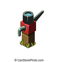 Vintage Water Pump Isometric Garden Landscaping Element...
