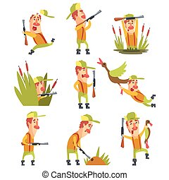 Hunter In Different Funny Situations Set Of Illustrations...