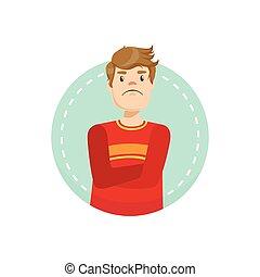 Doubtful Emotion Body Language Illustration. Emotional...