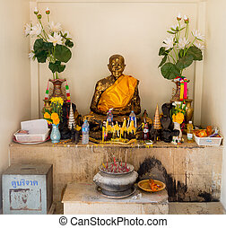 the mummified monk at the buddhist temple of Samui island...