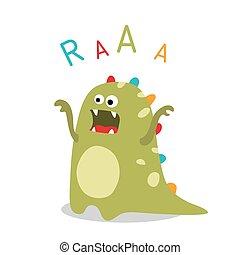 vector roaring dinosaur - Cute cartoon roaring dinosaur on...