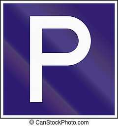 Road sign used in Hungary - Parking