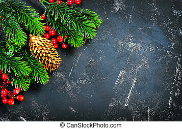 christmas background - christmas decoration, cones and...