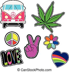 Vector set of fashion patch badges on hippie or hipster style.
