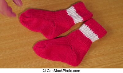 Children's red knitted socks - Children's wear. Children's...