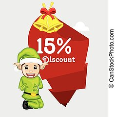 Elf Presenting Christmas Discount Offer Vector Illustration
