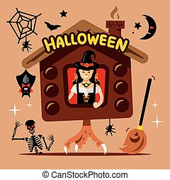 Vector Halloween Witch Hut Cartoon Illustration. - Shack on...