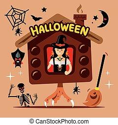 Vector Halloween Witch Hut Cartoon Illustration. - Shack on...