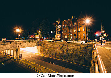 Rowhouses and the K Street Underpass at night, at Washington...