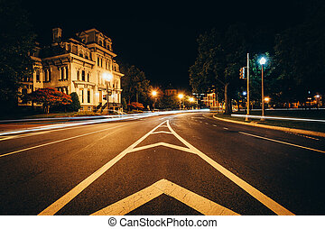 Long exposure of traffic and historic houses at Logan Circle...