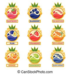 Jam Label Sticker Collection Of Templates In Round Frames...