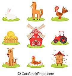 Farm Associated Animals And Objects Collection Cute Simple...