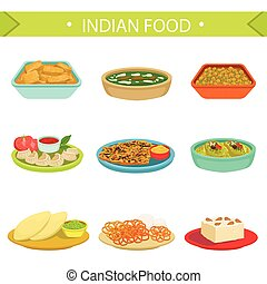Indian Food Famous Dishes Illustration Set. Traditional...