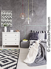 Bedroom interior with a chest of drawers - Cropped shot of a...