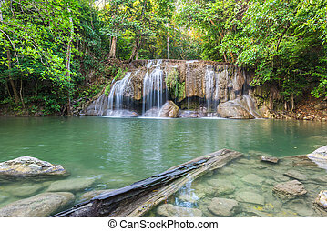 Jangle landscape with flowing turquoise water of third step...