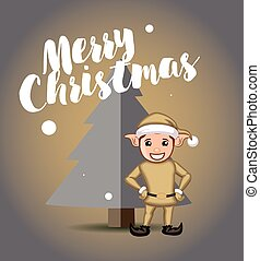 Elf with Christmas Tree Vector