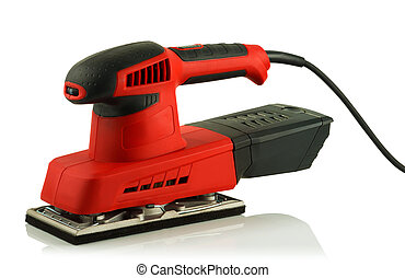 electric orbital sander isolated on a white background