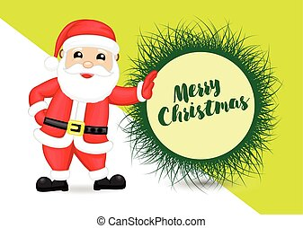 Happy Santa with Message Banner