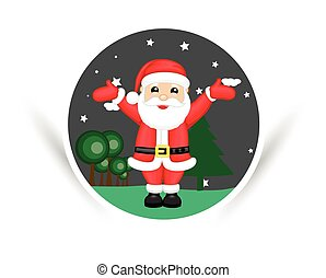 Joyful Santa with Open Arms Vector Illustration