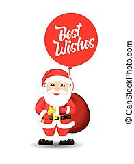 Christmas Best Wishes with Santa Vector Illustration