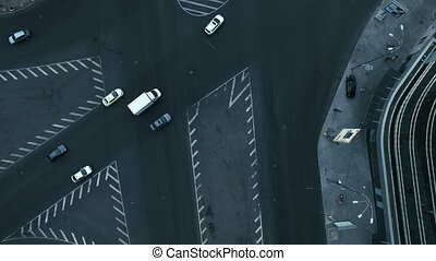 Aerial View of The Bustling Traffic on The Road at the...
