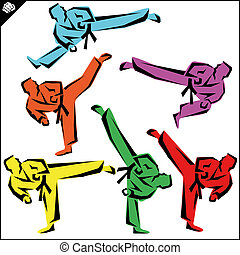 Martial arts. Karate fighters high kick. Vector. EPS. -...
