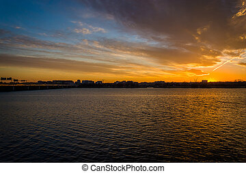 The Potomac River at sunset, in Washington, DC.