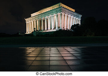 The Lincoln Memorial at night, at the National Mall, in...