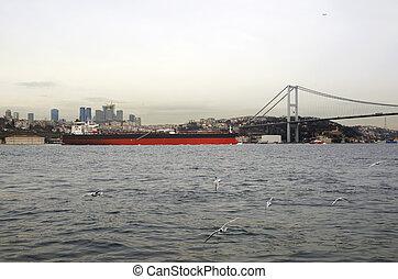 Oil Tanker ship moving on the Bosphorus