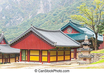 The building of Buddhist Sinheungsa Temple in Seoraksan...