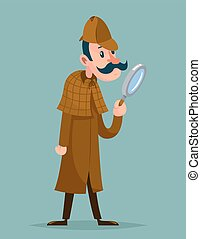 Victorian detective magnifying glass investigation mascot...