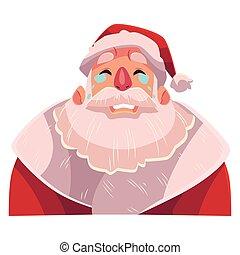 Santa Claus face , crying facial expression