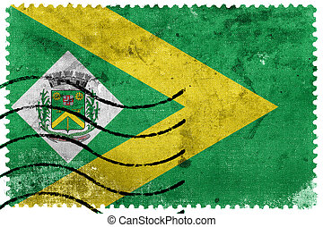 Flag of Santa Barbara d'Oeste, Sao Paulo, Brazil, old postage stamp