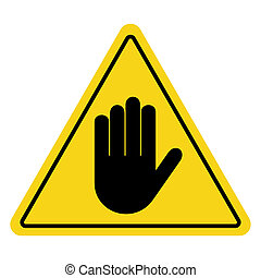 stop sign hand on yellow