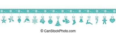 Blue snowflake border with hanging Christmas ornaments