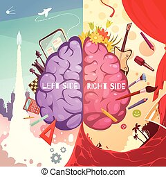 Brain Right Left Sides Cartoon Poster - Human brain left and...