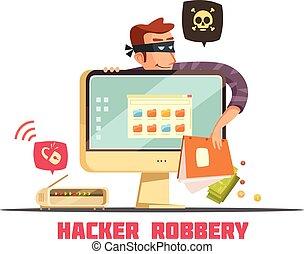 Computer Security Hacker Retro Cartoon Icon