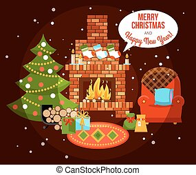 Christmas Holiday Fireplace Illustration - Flat design new...