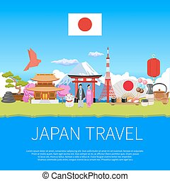 Japan Travel Flat Composition Advertisement Poster - Japan...