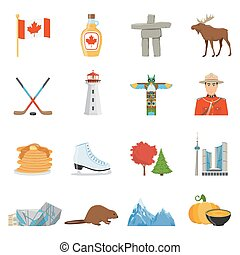 Canada National Symbols Flat Icons Collection