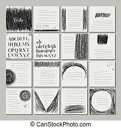 Template sheets note book. Careless style hand-drawing. Hand...