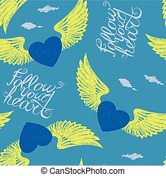 winged blue hearts