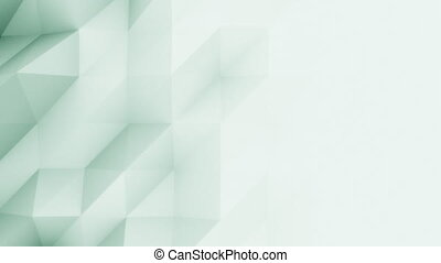 Abstract light green 3D polygonal motion background for modern reports and presetations. 4K seamless loop animation, ProRes