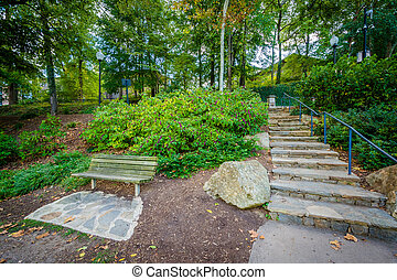 Garden and stairs at the Falls Park on the Reedy, in...