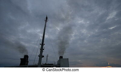 Cruise ship smoke stacks pollution smoke - Video of cruise...