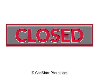 Closed Sign Neon. Bright red Print symbol for store, shop,...